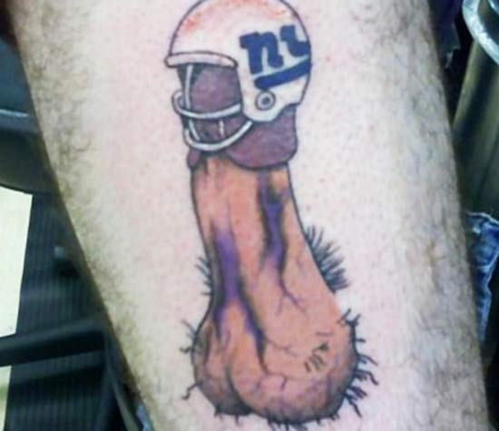 NY Giants Helmet Head Penis Tat ~ 24 of the Worst NFL Fan Tattoos