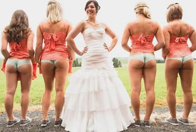 Bridesmaids in underwear flashing ~ 14 Funny Wedding Photos