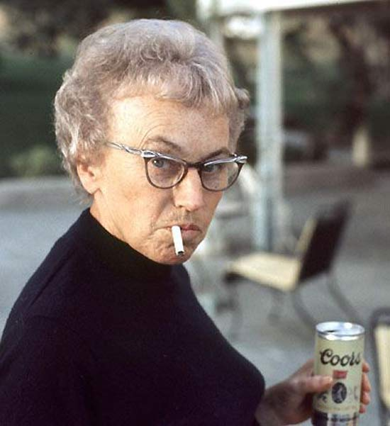 Badass Grandma Smoking & Drinking Coors ~ 16 Funny Family Photos