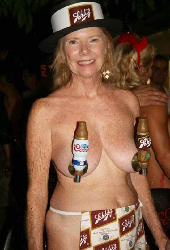 Naked Woman with beer taps covering her nipples