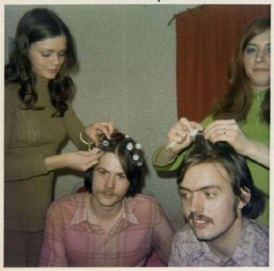 vintage 1960s color snapshots, guys getting curler, hair done ~ 18 Funny Awkward Family Photos