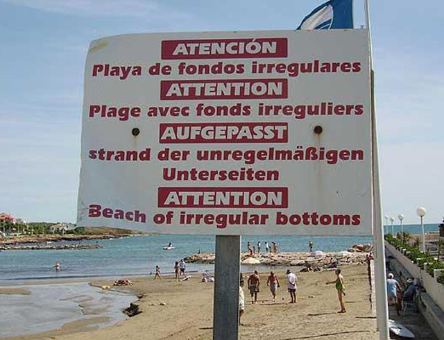 Beach of Irregualr Bottoms ~ Funny Strange Signs Lost in Translation