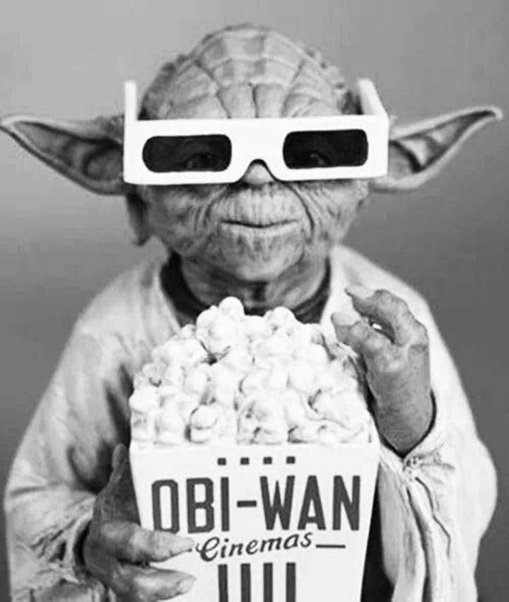 Vintage Stare Wars: Yoda in 3-D glass with Obi-Wan Popcorn
