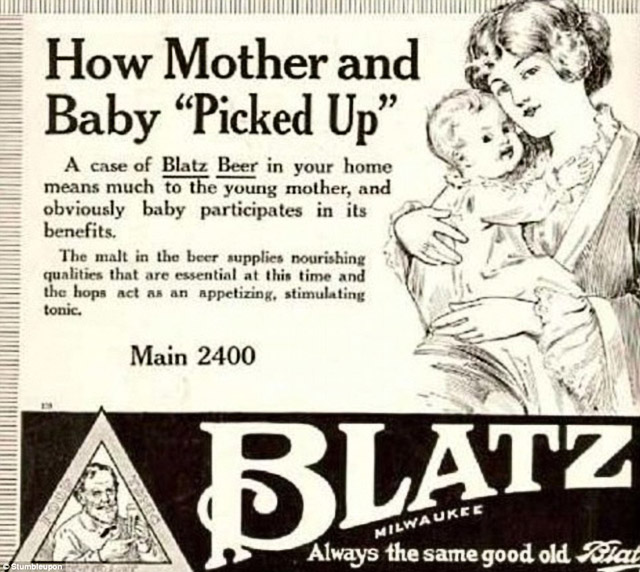 """Creepy Vintage Blatz Beer ad - How Mother and Baby """"Picked Up"""""""
