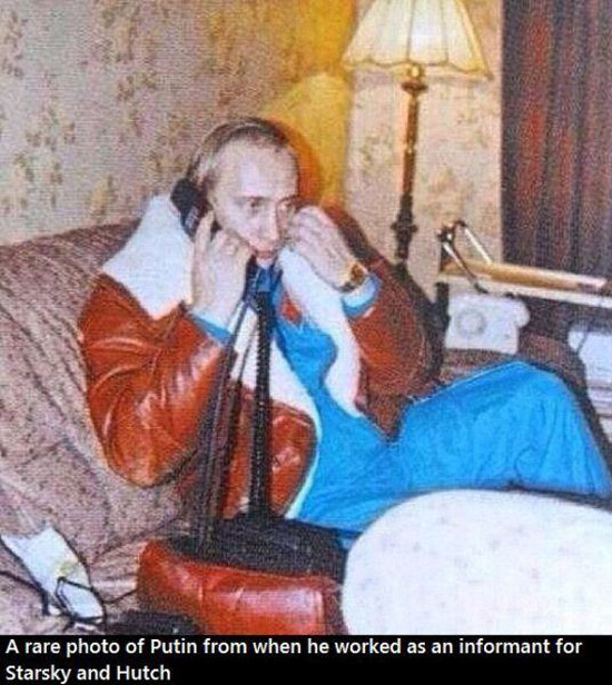 A rae photo of Vladimir Putin when he was an informant for Starsky & Hutch