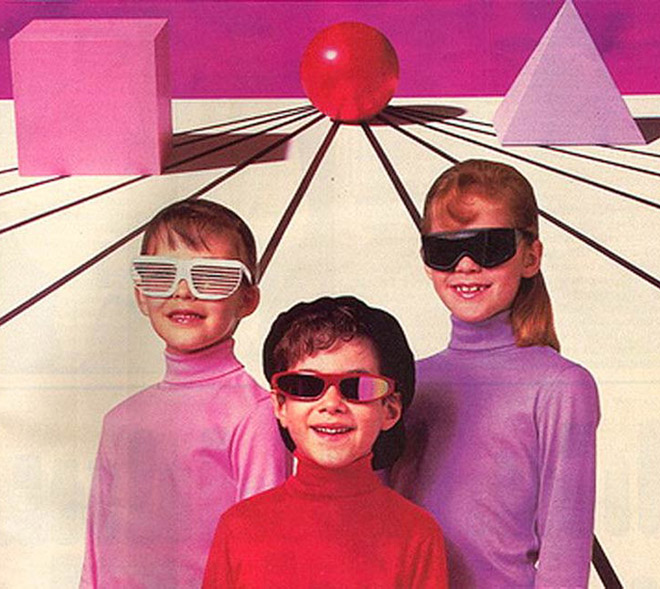 Vintage ad with kids in sunglasses, Tron like graphics 1980s
