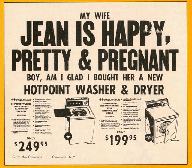 Vintage sexist advert – My wife is pretty & pregnant, boy am I glad I bought her a new Hotpoint washer & dryer