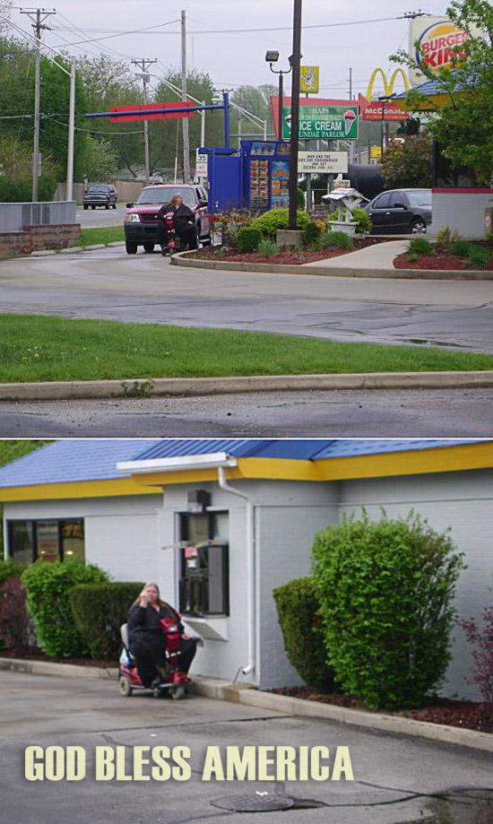 Woman on a rascal at fast food drive thru window. God bless America.
