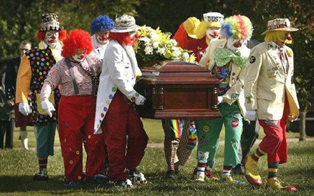 Clown funeral with pallbearer clowns carry casket ~ Awkwardly Funny Family Photos