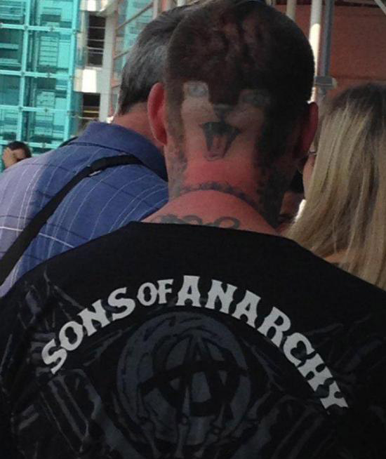 Sons of Anarchy guy with kitten cat face tattooed on back of his head ~ the ugliest bad worst tattoos