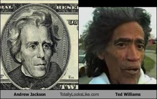 Celebrities that look like Historical Figures ~ Andrew Jackson Ted Williams
