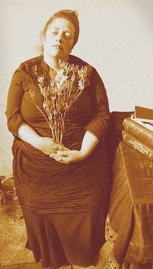 Creepy Old Vintage Photos~ portrait of dead woman lips sewn shut