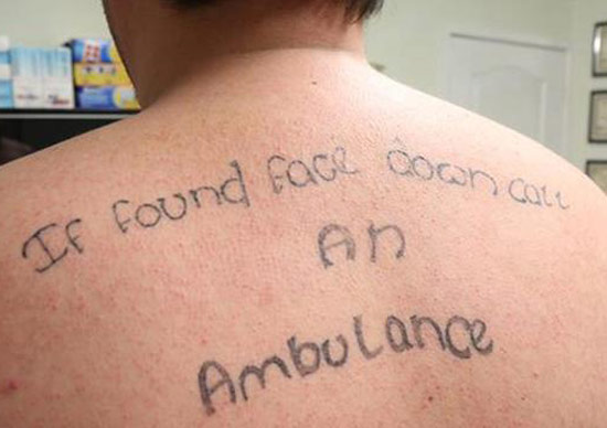 Back Tat, If found face down call an ambulance ~ The ugliest worst bad tattoos