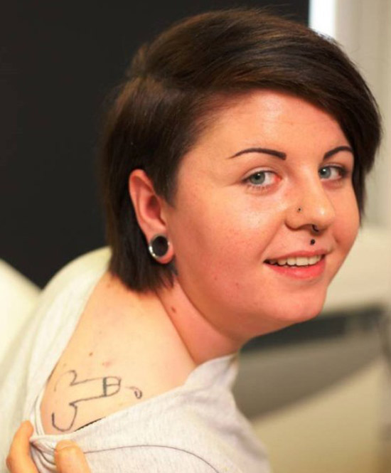 Woman with penis on her shoulder regrets ~ The ugliest worst bad tattoos
