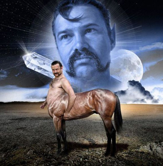 Awkward portrait of man dresses as centaur