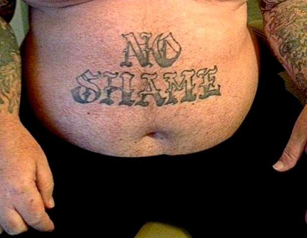 No Shame on stomach ~The Ugliest Worst Bad Tattoos