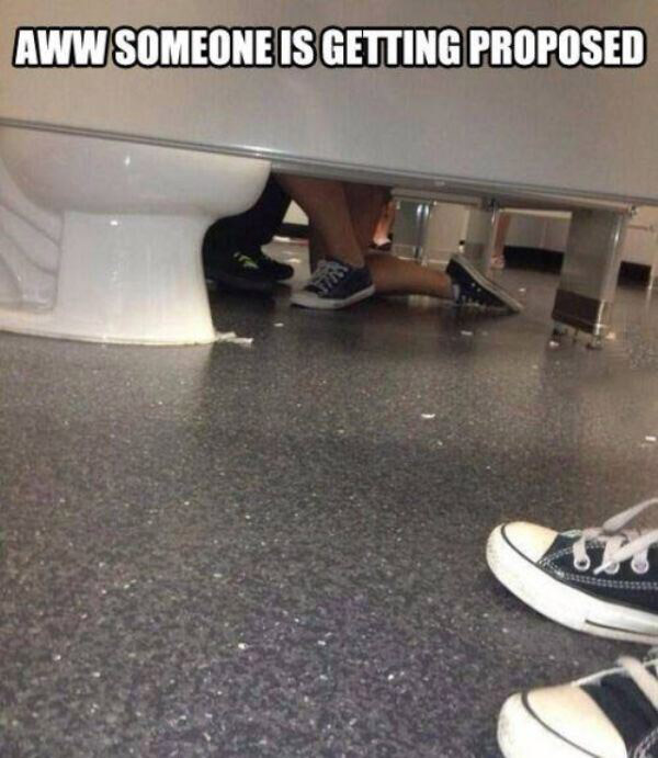 Funny meme: bathroom stall bj: someone's getting proposed to