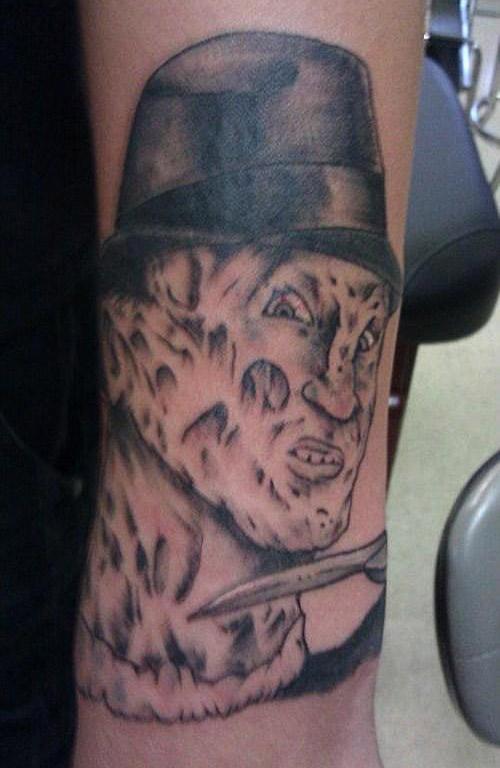 Funny bad Freddie Krueger tattoo