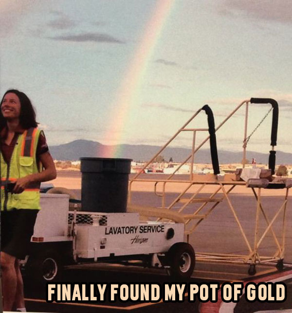 Rainbow pot of gold into dumpster trash can
