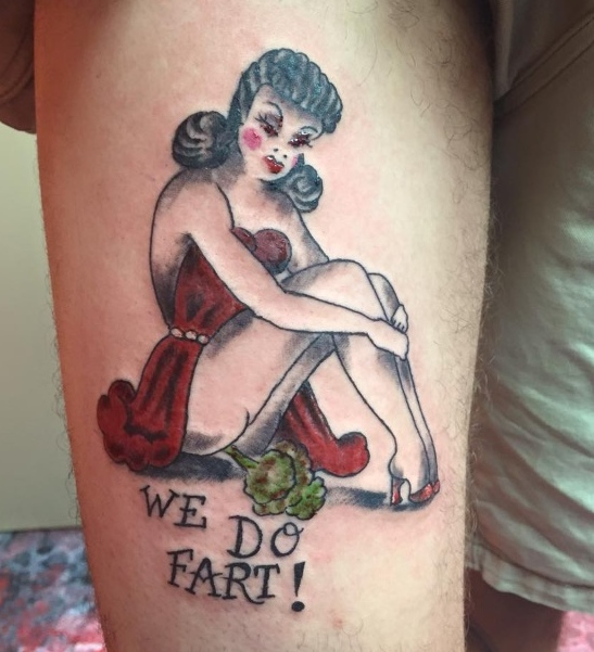 We Do Fart Pinup Letting the Tattoo Artists Dow What He Wants ~ Worst Bad Tattoos Fails