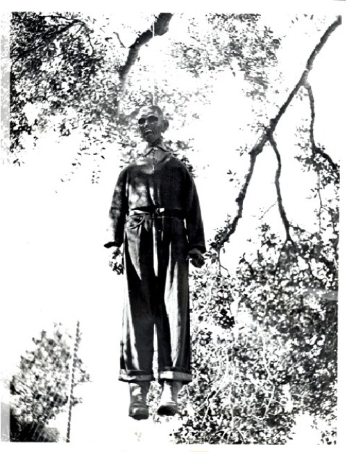 Scary Weird Creepy Old Photos ~ clown hanging in tree