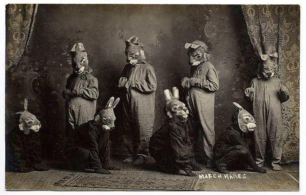 Scary Weird Creepy Old Photos ~ kids in rabbit costumes