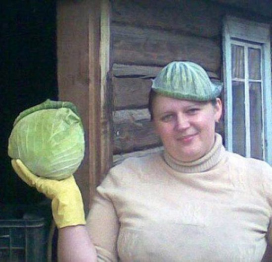 Funny woman with cabbage leaf on head ~ Awkward Family Photos