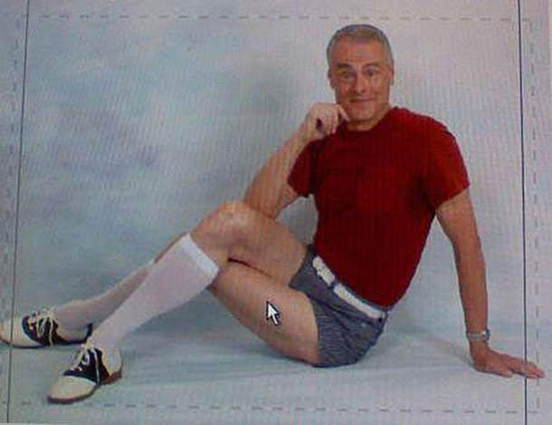 Man in short shorts knee socks and saddle shoes, sexy pose portrait ~Funny Awkward Family Photos