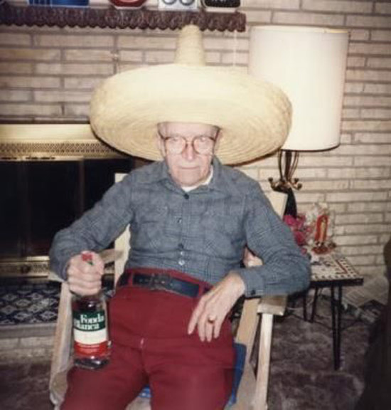 vitage color snap, old grandpa in sombrero & bottle of tequila, ~Funny Awkward Family Photos