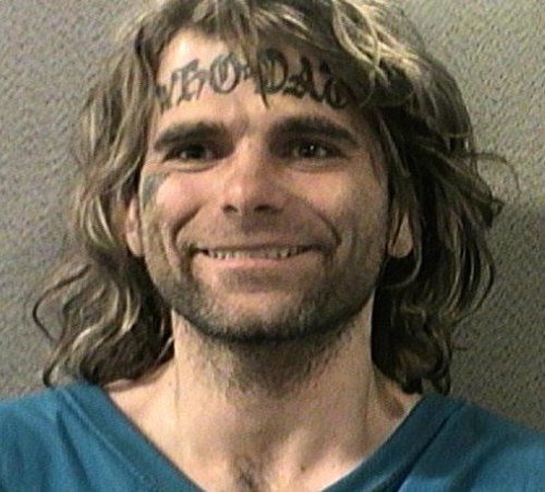 Funny mugshots Who Dat on forehead ~ worst bad tattoos