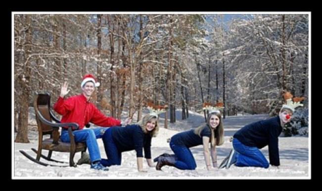 funny awkward Christmas cards, woman on knees pulling sleigh