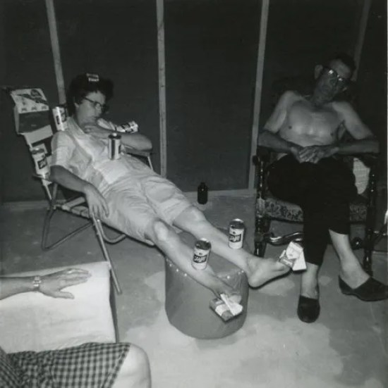 Funny Awkward Family Photos: vintage snap, 1950s woman passed out in lawn chair