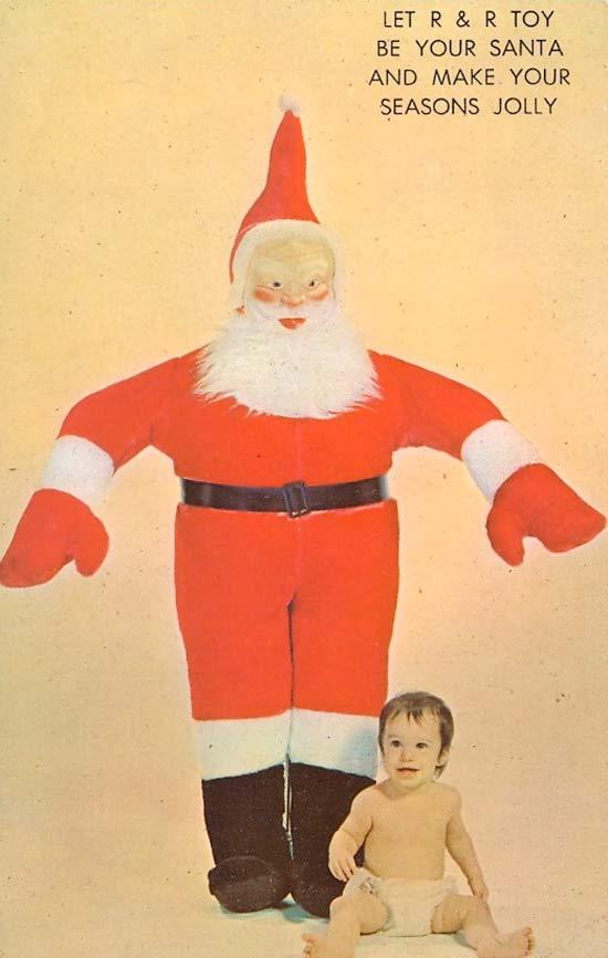 Creepy Santa, funny Christmas, vintage 1950s postcard