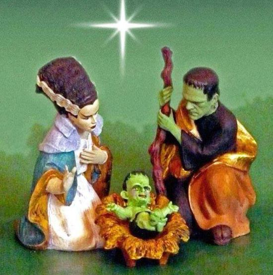 26 Funny Awkward Christmas Photos ~ Frankenstein nativity scene