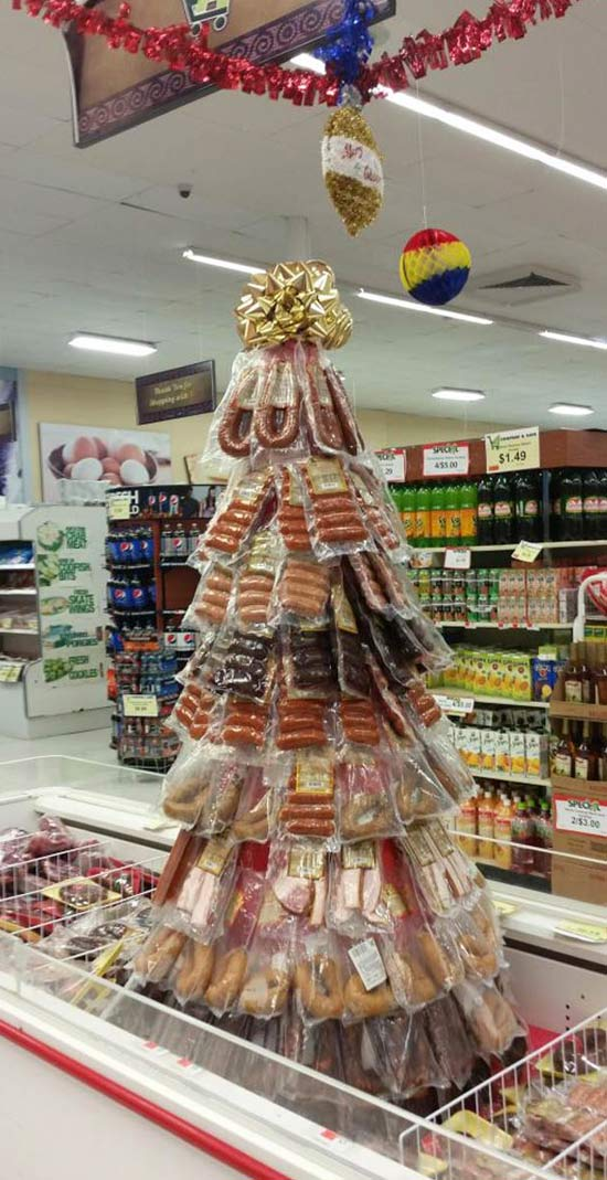 Funny Awkward Christmas Photos ~ Christmas tree made out of meat, sausages