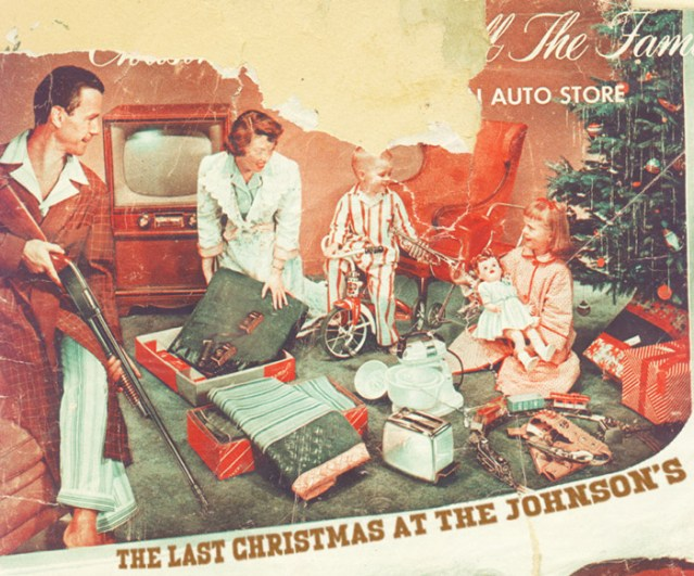 Vintage Christmas Ad, Catalogue ~ Awkward, family with guns sitting around the tree