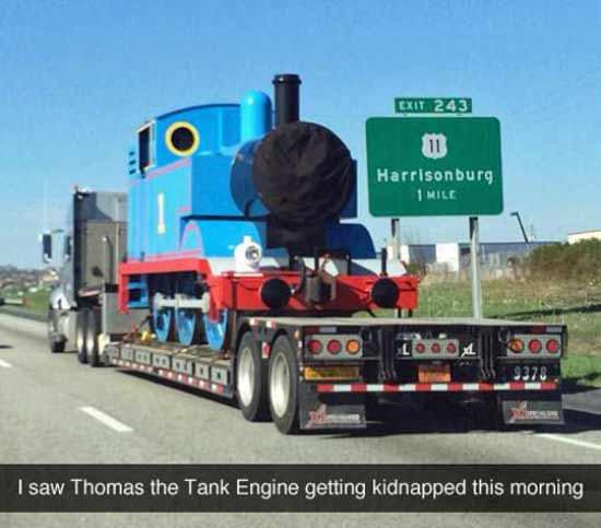 Funny Snapchats ~ Thomas the Tank kidnapped