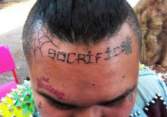 Worst Bad Tattoos: sacrifice on forehead