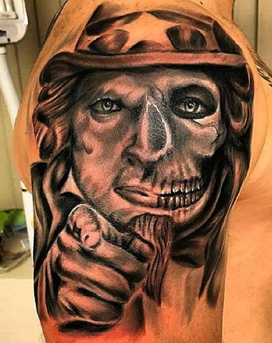 Worst Bad Tattoos: Ugly Uncle Sam Skull
