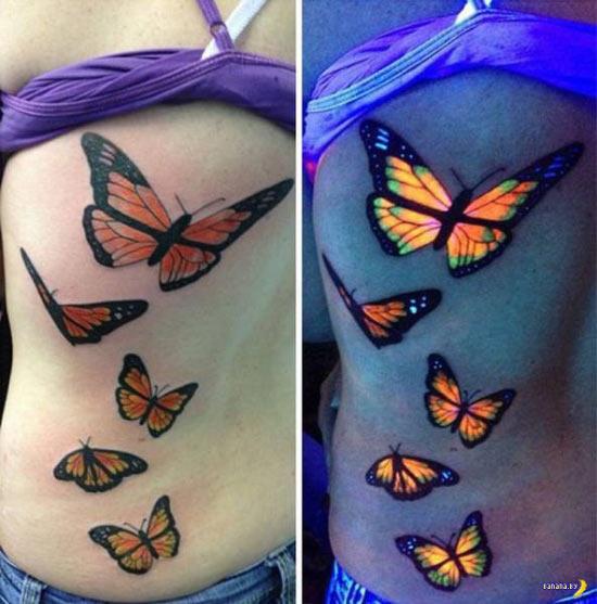 Glow in the dark butterfly tattoo