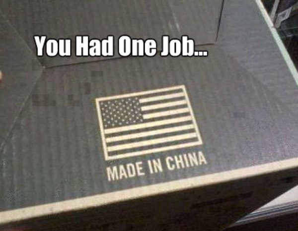 American Flag made in China ~ Funny You Had One Job Fails