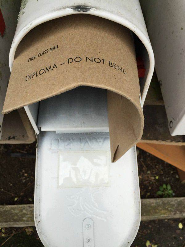 Diploma Do Not Bend ~ Funny You Had One Job Fails