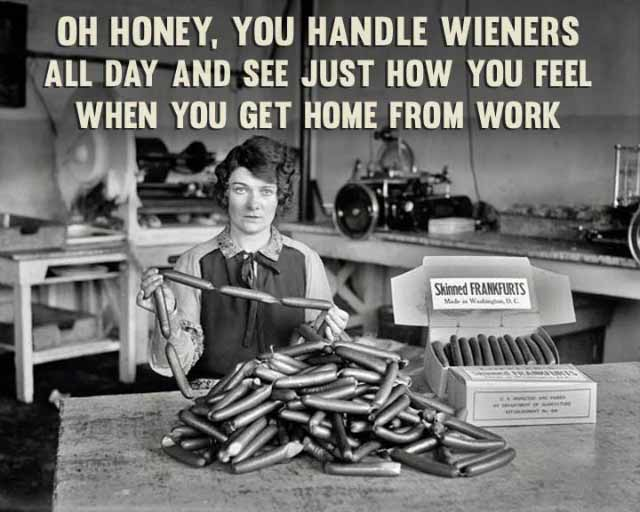 Funny Pictures: vintage snap of woman working in hot dog factory packing wieners