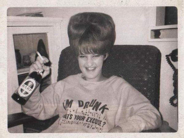 """Vintage snap: woman with big hair drinking & smoking, """"I'm drunk what's your excuse"""" shirt"""
