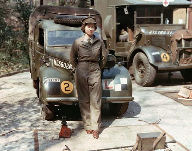 Queen Elizabeth II, an 18-year-old princess at the time, trained as a military mechanic and drove a supply truck during W.W. II