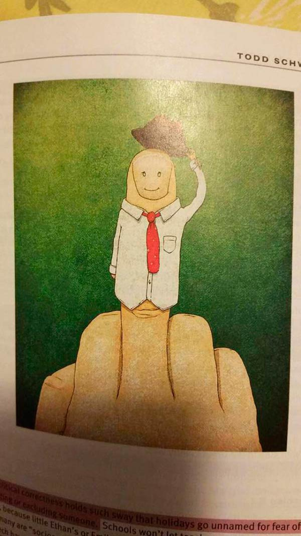 Funny pics~ newspaper illustration: flipping the bird with middle finger dressed like happy man