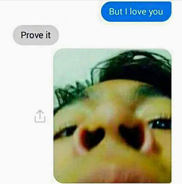 Funny Text: I love you heart shaped nostrils