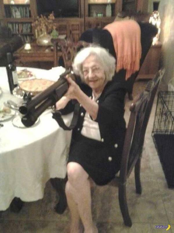 awkward family grandma with gun