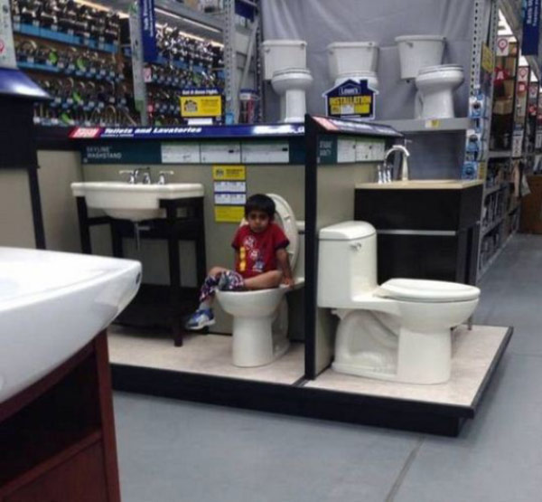 kid pooping on toilet at Lowes awkward family