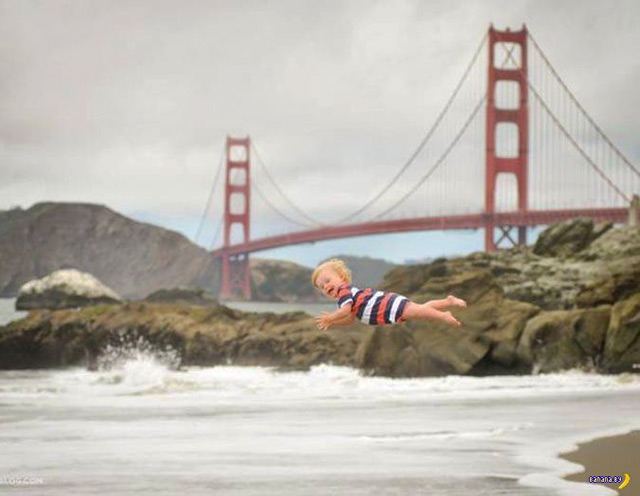perfectly timed photos ~ flying baby Golden Gate Bridge